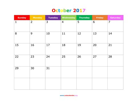 printable october 2017 calendar cute october 2017 calendar cute