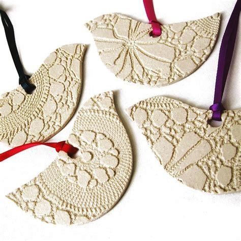 4 ceramic bird christmas ornaments modern classic cream
