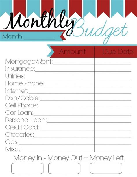 monthly budget printable woman   roles monthly