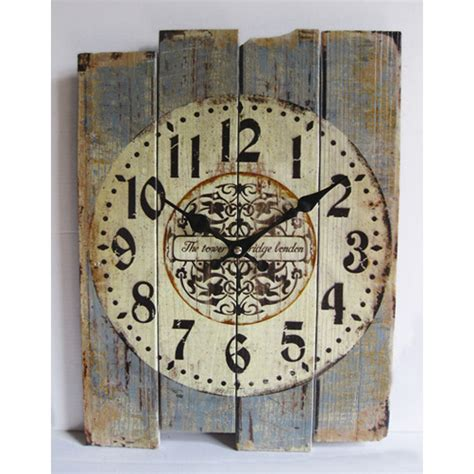 home decor wall clocks retro antique silent no ticking wood wall clock shabby