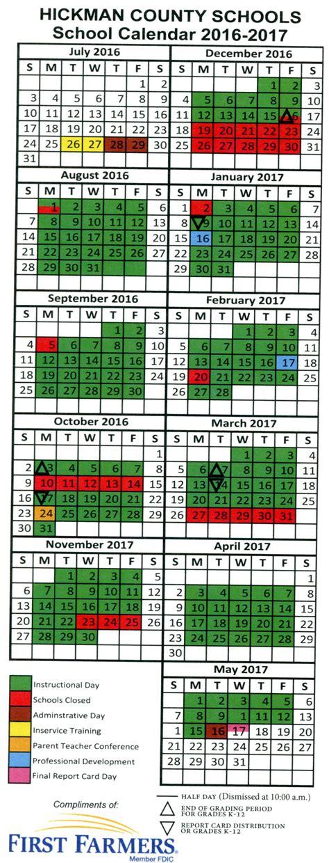 District Calendar Color Coded District Calendar Hickman County Schools