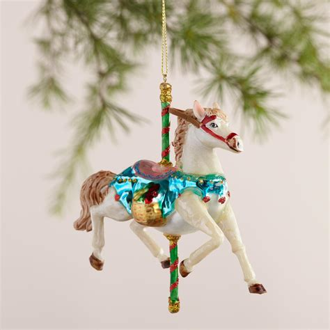 carousel ornaments glass carousel ornaments set of 2 world market