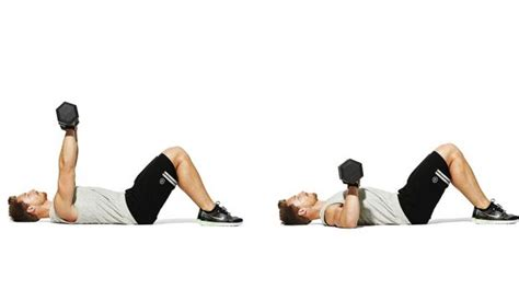 Dumbbell Floor Press by The Workout Plan Zac Efron Used To Build A Baywatch
