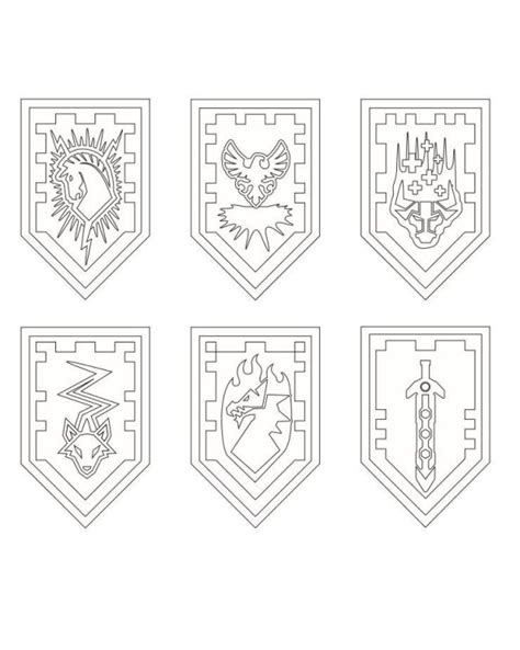 coloring pages knights shields nexo lego knights shields coloring page projekty na