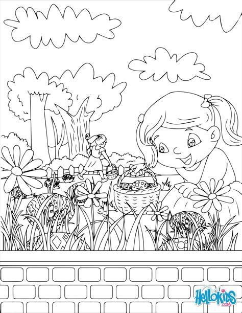 coloring pages easter egg hunt chocolate egg hunt coloring pages hellokids
