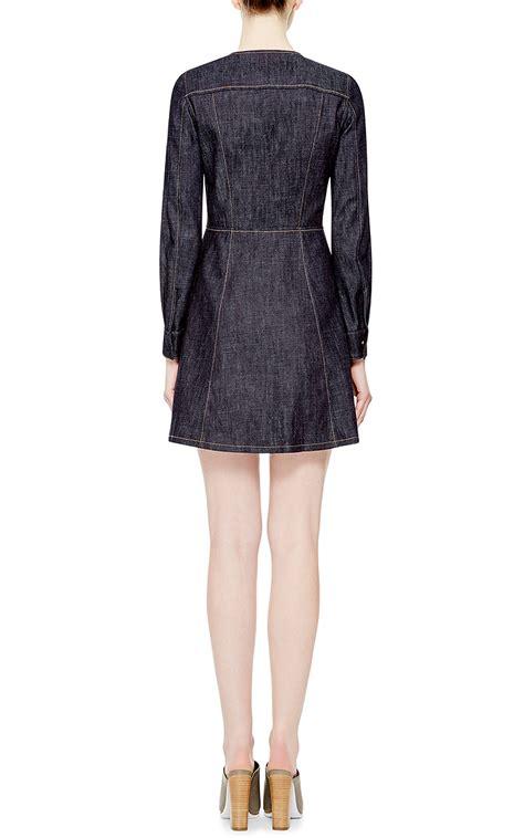 Dress Denim Ziper lyst derek lam zipper front denim dress in blue