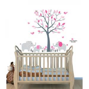 Wall Stickers Map pink jungle tree wall art for nursery with elephant wall