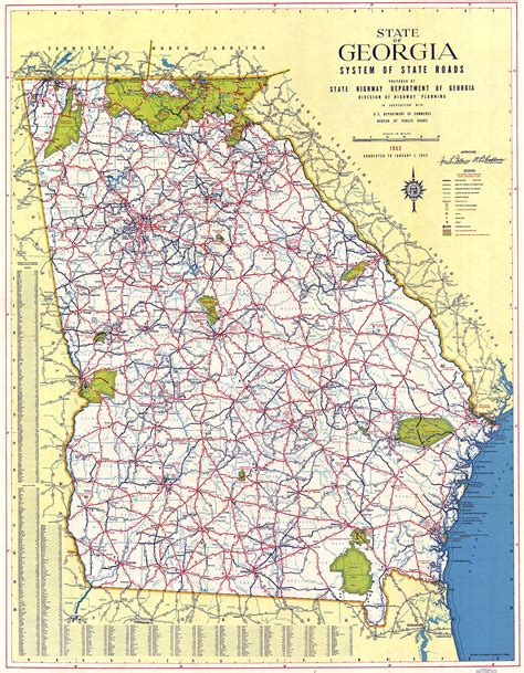 ga map maps 1952 map georgiainfo