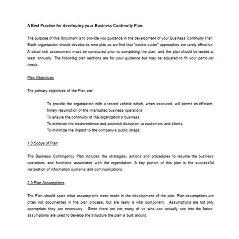 Business Contingency Plan Format | contingency plan template 9 free word pdf documents