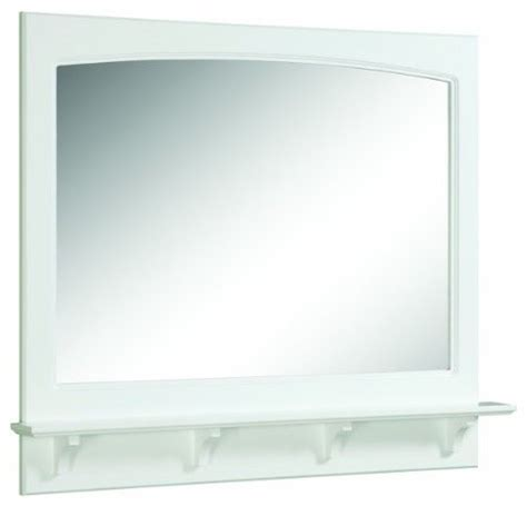 White Gloss Bathroom Mirror Concord White Gloss Mirror With Shelf Transitional