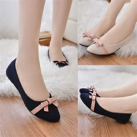 Flat Suede Pita 381 Maroon trendishoes sepatu wanita flat shoes bunga kmb03