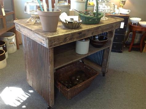 primitive kitchen island repurposed from old factory workbench