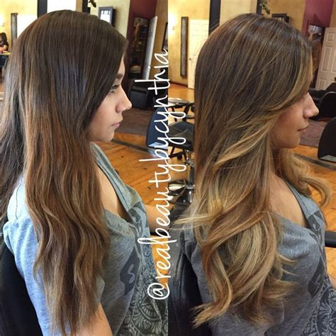 ombr cheeks before and after a balayage ombr 233 highlight with face