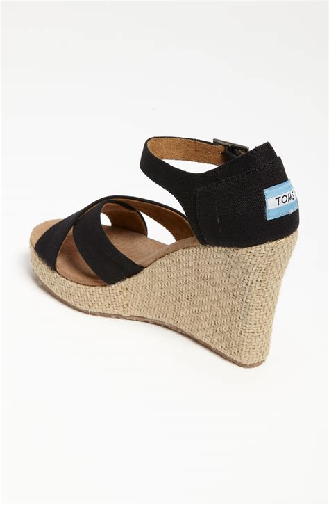 canvas wedge sandals toms canvas wedge sandal in black lyst
