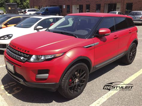 matte red range rover matte red range rover evoque vinyl car wrap car wraps