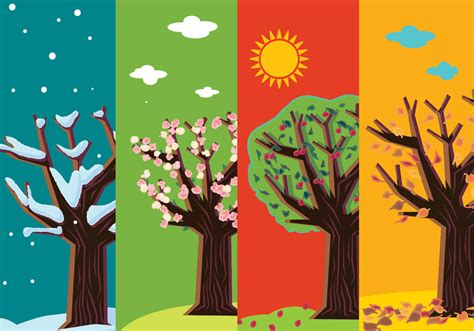 Four Seasons by Four Seasons Abstract Trees Free Vector