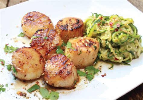 pan seared scallops with japanese spicy onion sauce pan seared asian scallops with zucchini noodles asian
