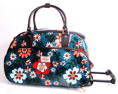 cabin bag with wheels funky flower print blue wheeled travel bag on wheels