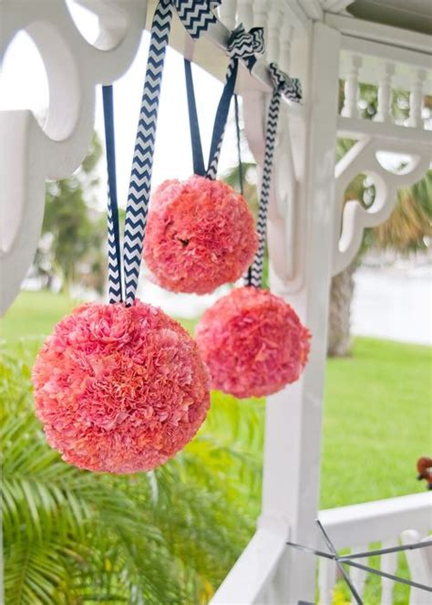 pin by andrea grubb on coral flower balls pomanders hang from the arbor with