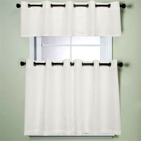 Modern sublte textured solid white kitchen curtains with grommets tiers and valance 17345881