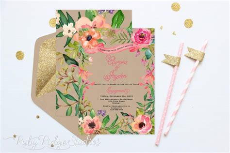 floral wedding invitation diy pink flowers and cactus printable engagement invitation summer watercolor floral