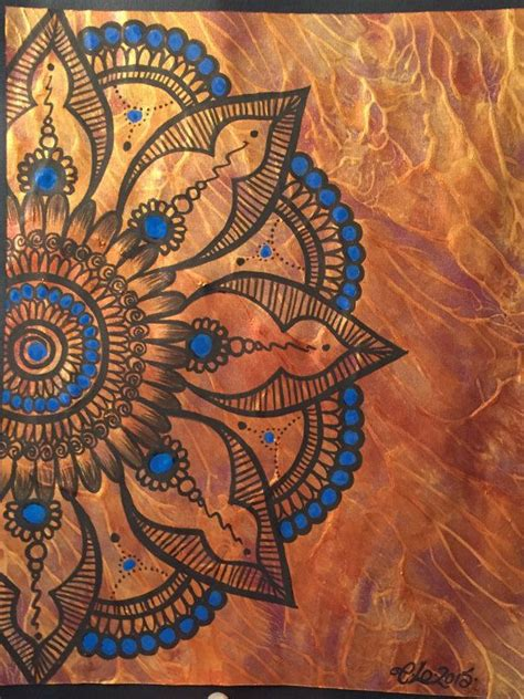 tattoo mandala gold blue henna mandala tribal abstract metallic gold art
