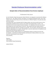 employee recommendation letter template employee letter of recommendation sle letter with