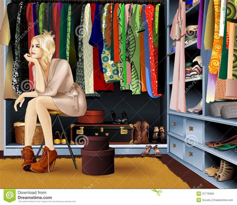 Wardrobe Of Clothes Nothing To Wear Stock Illustration Image Of Expression