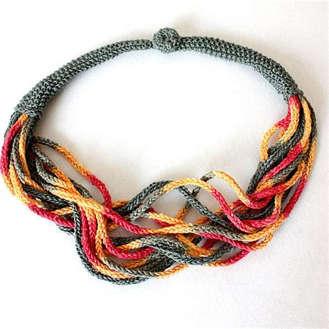 knitted necklace knitting pattern pdf file necklace accessory