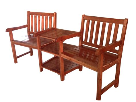 2 Seater Wooden Companion Bench Chair Table Tawny Outdoor Patio Table With Bench Seating