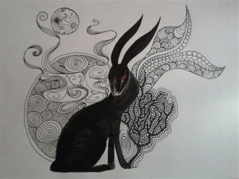 electronic tattoo pen rabbit black rabbit of inle zentangle doodle rebecca watkins