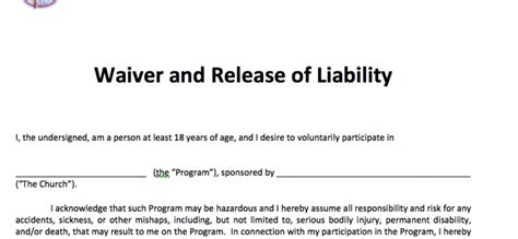 Waiver And Release Of Liability Adult 171 Free Methodist Church Legal Resources Release Of Liability Form Template