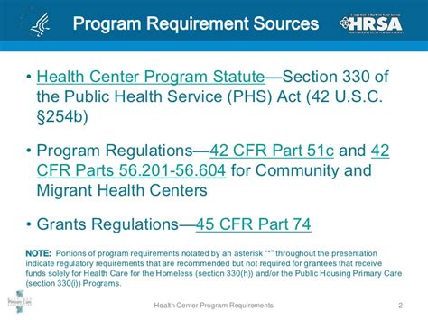 public health service act section 330 health center program requirements