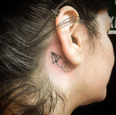 Airplane Tattoo Behind Ear | 45 tiny tattoos that are perfect in every way temporary