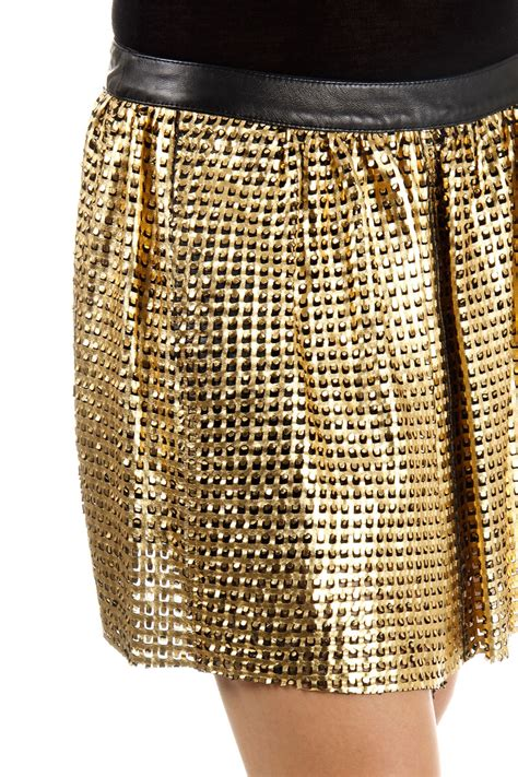drome leather skirt perforated pattern