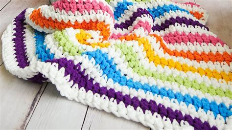 Rainbow Crochet Baby Blanket by Crochet Rainbow Stripes Baby Blanket The Easiest On