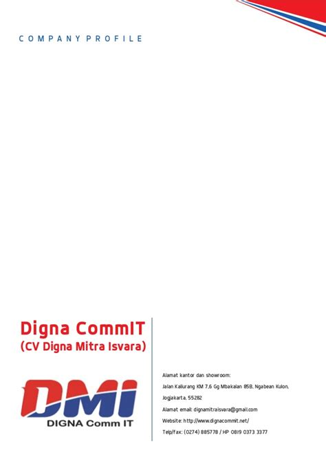 Sle Resume Contoh Company Profile Company Profile Cv Digna Mitra Isvara
