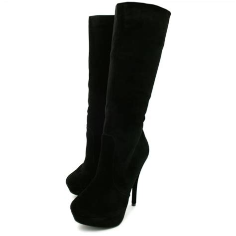 buy womens black suede style knee high stiletto platform boots