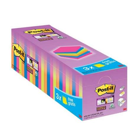 The Sticky Factor 3 by Post It Sticky 76x76mm Assorted Value Notes Pack