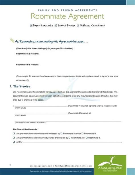 printable sle roommate agreement form real estate