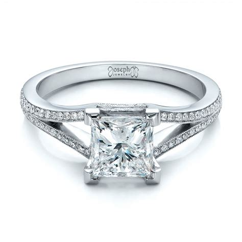 custom princess cut and split shank engagement
