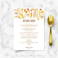 fall menu template fall wedding menu template editable menu cards