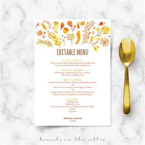 fall menu template fall wedding menu template editable menu cards