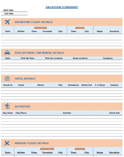 Blank Itinerary Templates Word Excel Sles Free Travel Itinerary Planner Template