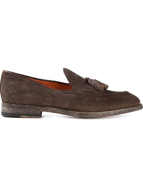 tassel loafers brown lyst santoni tassel loafers in brown for