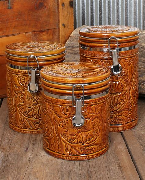 rustic kitchen canister sets tooled 3 canister set