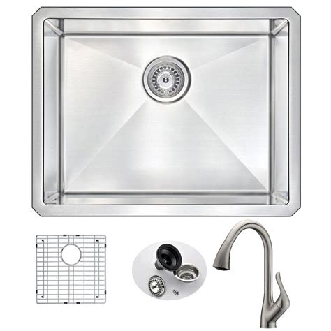 kitchen sink and faucet sets anzzi vanguard undermount stainless steel 23 in single