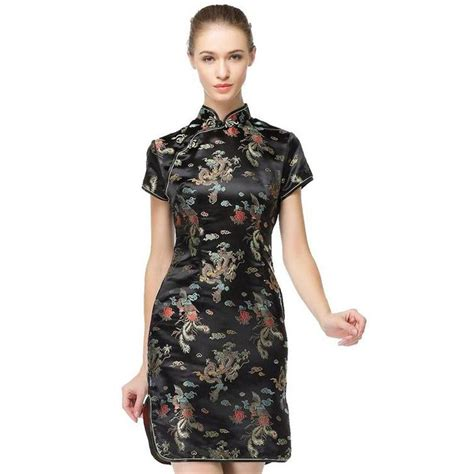 Birds Flower Cheongsam Size L Xl black traditional dress s satin qipao summer vintage cheongsam flower size s