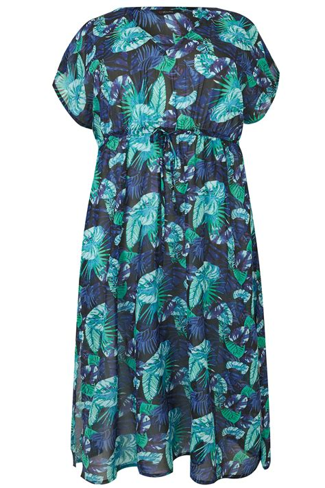Leaf Maxi blue jungle leaf maxi cover up plus size 16 to 36
