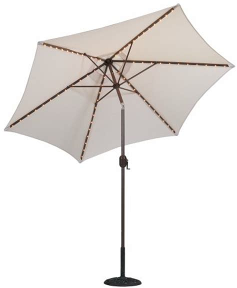 Tropilight Patio Umbrella Tropishade Tropilight Led Lighted 9 Ft Bronze Aluminum Market Umbrella With Antique White